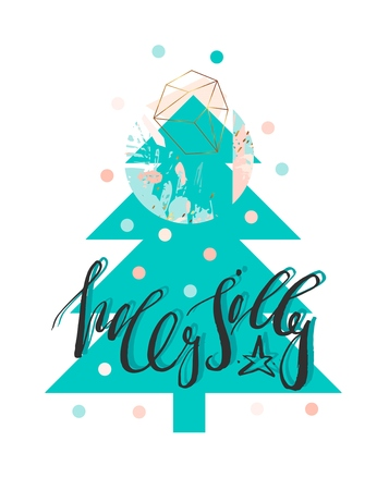 Hand drawn vector abstract christmas illustration with handwritten modern lettering phase holly jolly on xmas tree in turquoise,pastel,gold,black and white colors with polka dots