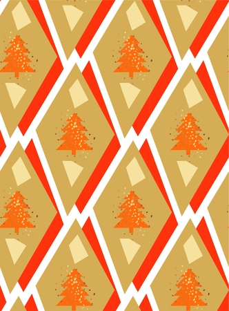 Hand drawn vector seamless geometric abstract christmas tree background pattern with gold glitter in ocher and red colors isolated on white