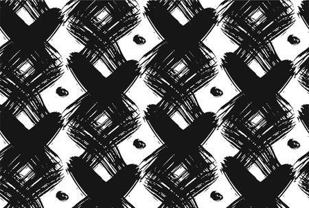 ヴィンテージは、ブラシをかけられた十字架と白と黒のドットでシームレスなパターンをチェックしました。テクスチャ web、印刷、アールデコ様式  イラスト・ベクター素材
