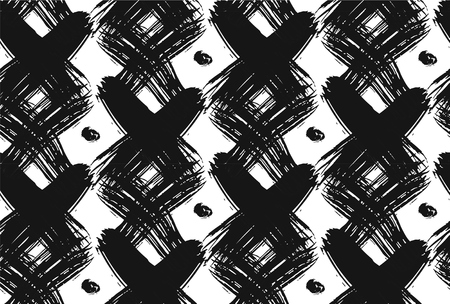 Vintage checked seamless pattern with brushed crosses and dots in black and white.Texture in art deco style for web, print,home decor,spring summer fashion fabric,textile,website background Çizim