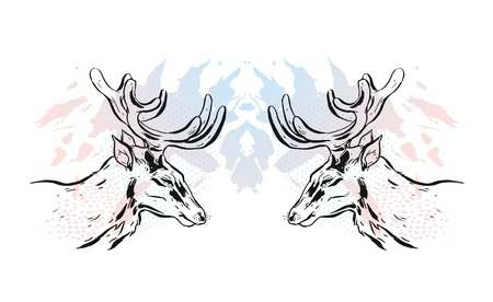 Hand drawn vector textured lined ink graphic deers reflect head illustration in pastel colors isolated on white background. Stock Photo