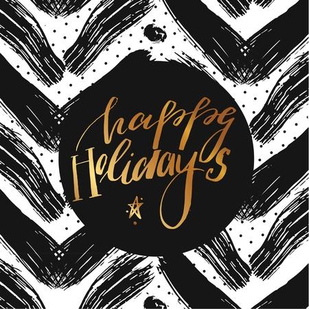 해피 홀리데이 벡터 텍스트에 초점 패턴입니다. 초대장 및 인사말 카드, 지문 및 포스터에 대한 휴일 레터링. 손으로 그려진 활판 인쇄 비문, 크리스마