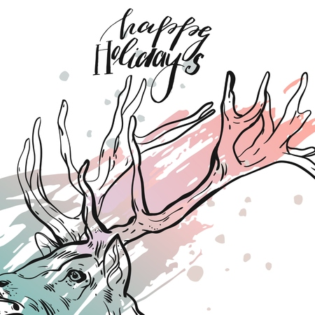 Christmas card on the chalkboard with the words Happy Holidays with the silhouette of a head deer vector