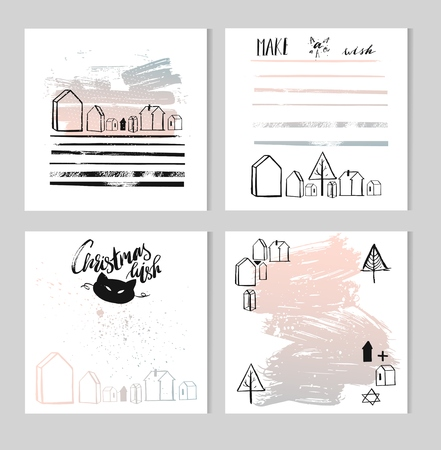 Hand drawn vector abstract Christmas and New year greeting card template collection set with brush modern lettering phases and quotes,decor houses,christmas trees and cat mask in pastel colors.