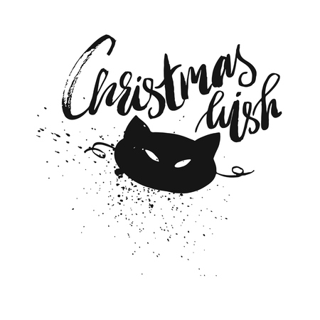 We Wish You A Merry Christmas And Happy New Year Typographical pattern On Chalkboard