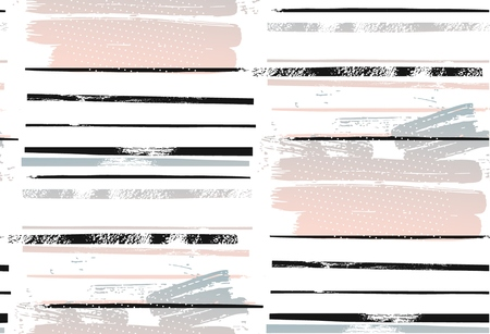 Abstract hand drawn geometric seamless pattern or pattern with brush painted stroke elements.Poster, card, textile, wallpaper template.Pink,black,white and pastel colors.Rough stripe pattern Ilustrace