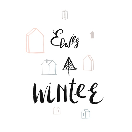 Cute girl in cozy sweater and scarf drinks hot tasty cups of tea with rabbit. Vector tea party illustration with words Enjoy the Winter