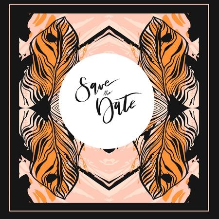 창조적 인 보편적 인 꽃 카드, 웨딩, 기념일, 생일, 발렌타인 데이, 파티 초대장에 대 한 손으로 그린 텍스처의 집합입니다.
