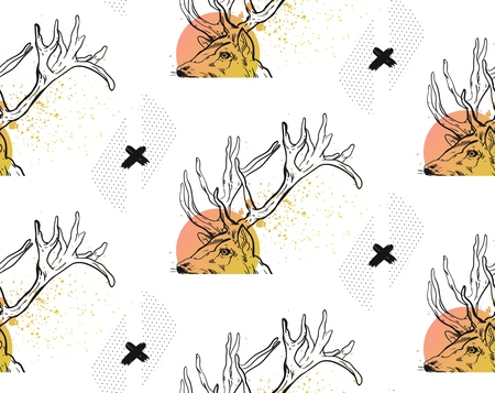 Hand drawn vector abstract modern textured seamless pattern with ink black crosses,polka dot textures and deer heads in pastel colors isolated on white background.Hipster trendy texture with crosses.