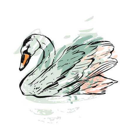 Hand getrokken vector abstracte inkt geschilderd getextureerde grafische zwaan illustratie in pastel kleuren geïsoleerd op een witte achtergrond. Vintage vogel tekening illustratie. Huwelijk, verjaardag, bewaar deze datum, verjaardag