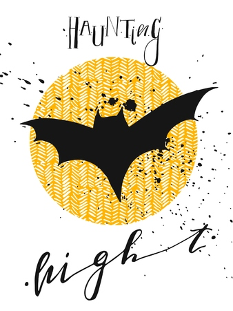 Hand drawn Halloween label with textured bats.