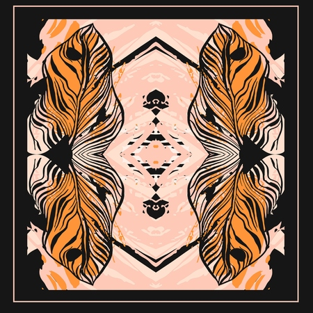 Hand drawn vector abstract artistic textured tribal tropical composition with orange autumn palm leaves reflect,polka dot texture in pastel colors isolated on black background.Tropical palm tree
