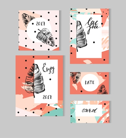 Set of Hand Drawn Universal Cards with tropical palm leaf and polka dots texture. Design for Flayers, Placards, Posters, Invitations, Brochures. Artistic Creative Templates. Abstract Modern Style