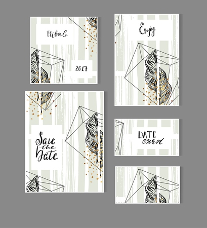 Hand drawn vector abstract modern tropical minimalistic save the date card set template with exotic palm leaf in pastel green and gold colors.Wedding,marriage,save the date,baby shower bridal,birthday Illustration