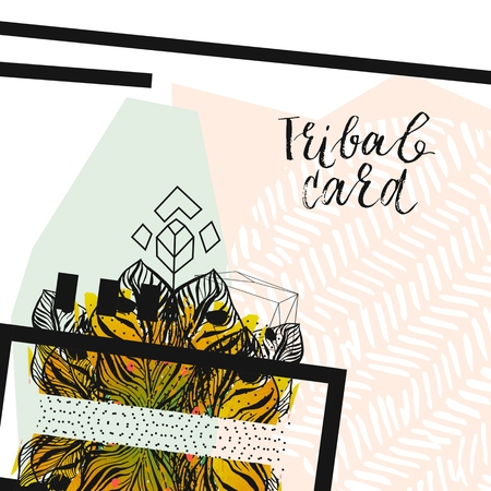 Hand drawn vector abstract modern tropical minimalistic tribal unusual card template.Wedding,marriage,save the date,baby shower bridal,birthday,Valentines day.Stylish simple design.Poster template Illustration