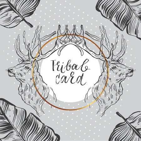 Hand drawn vector abstract graphic tribal unusual card template with deers,tropical leaves and polka dot texture in grey,gold,black and white colors,Design for Xmas,New Year,save the date.