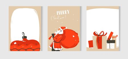 Hand drawn vector abstract fun Merry Christmas time cartoon illustrations cards collection set with Santa Claus,surprise gift boxes and Christmas tree toy isolated on craft paper background. Illustration