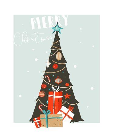 Kartenkonzeptdesign der frohen Weihnachten.