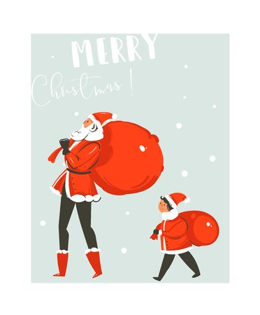 Hand drawn vector abstract fun Merry Christmas time cartoon illustration card with big and small Santa Claus family with surprise bags walking together isolated on blue background