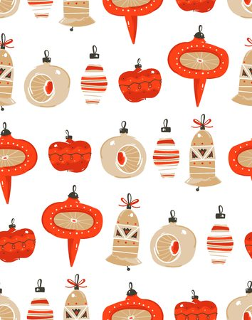 Hand drawn vector abstract fun merry christmas time cartoon illustration. Seamless pattern with christmas vintage tree toys Иллюстрация