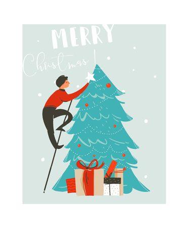 Hand getrokken vector abstracte illustratie van de het beeldverhaalillustratie van pret vrolijke Kerstmis de tijd met vader die verfraaide Kerstmisboom en de dozen van de verrassingsgift op blauwe achtergrond.