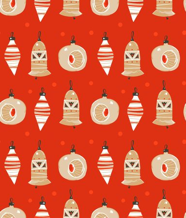 Hand drawn vector abstract fun Merry Christmas time cartoon illustration seamless pattern with Christmas tree toys isolated on red background. Stock Photo
