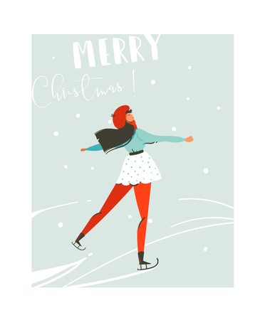 Hand drawn vector abstract fun Merry Christmas time cartoon illustration card with young girl skating on ice isolated on blue background.