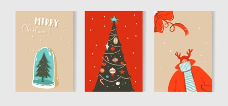 Hand drawn vector abstract fun Merry Christmas time cartoon cards collection set with cute illustrations isolated on craft paper background