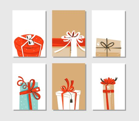 Cute illustrations of surprise gift boxes isolated on craft paper background.