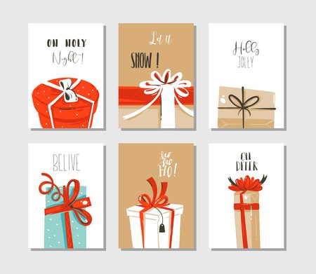 Cute illustrations of surprise gift boxes with modern typography isolated on craft paper background.