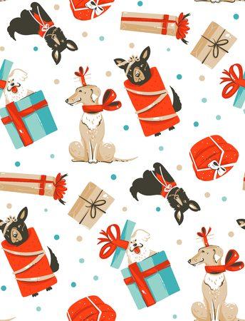 Bergeben Sie gezogenem Vektorzusammenfassungsspaß Musterdesign der frohen Weihnachten Karikaturillustrationen nahtloses mit netten lustigen Säugetierhunden in den Weinlese Weihnachtsgeschenkkästen, die auf weißem Hintergrund lokalisiert werden Standard-Bild - 88534412