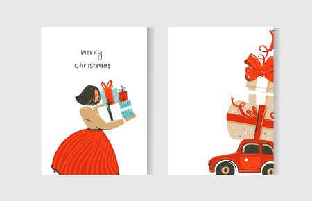 Hand drawn vector abstract fun Merry Christmas time cartoon cards collection set with cute illustrations and surprise gift boxes isolated on white background. Иллюстрация