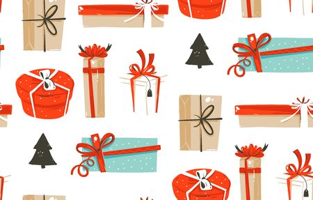 Hand drawn vector abstract fun Merry Christmas time cartoon illustrations seamless pattern with cute retro vintage Christmas gifts boxes isolated on white background.