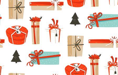 Bergeben Sie gezogenem Vektorzusammenfassungsspaß Musterdesign der frohen Weihnachten Karikaturillustrationen nahtloses mit den netten Retro- Weinlese Weihnachtsgeschenkkästen, die auf weißem Hintergrund lokalisiert werden. Standard-Bild - 88591406
