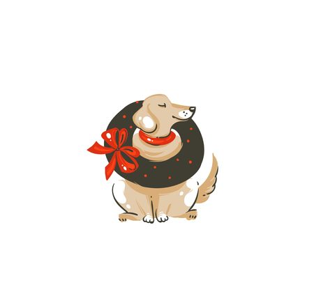 Hand drawn vector abstract fun Merry Christmas time cartoon icon illustration with mammal happy dog,mistletoe wreath and red bow isolated on white background