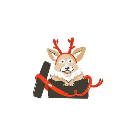 Hand drawn vector abstract fun Merry Christmas time cartoon icon illustration with mammal happy dog with deer horns hat in surprise gift box isolated on white background