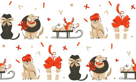 Hand drawn vector abstract fun Merry Christmas time cartoon illustration seamless pattern with many pet dogs isolated on white background Vettoriali