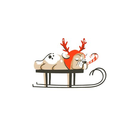 Hand drawn vector abstract fun Merry Christmas time cartoon illustration icon with french bulldog in deer costume on sleigh isolated on white background Illustration