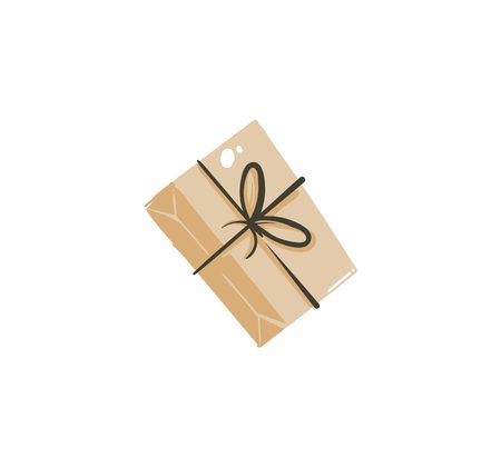 Hand drawn vector abstract fun Merry Christmas time cartoon icon illustration with home made craft paper surprise gift box with bow isolated on white background
