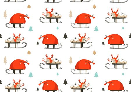 Hand drawn vector abstract fun Merry Christmas time cartoon illustration seamless pattern with french bulldog in deer costume on sleigh and Santa Claus bag isolated on white background Stok Fotoğraf