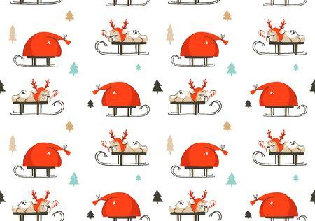 Hand getrokken vector abstracte leuke Merry Christmas tijd cartoon illustratie naadloze patroon met Franse bulldog in herten kostuum op slee en Santa Claus tas geïsoleerd op witte achtergrond Stockfoto