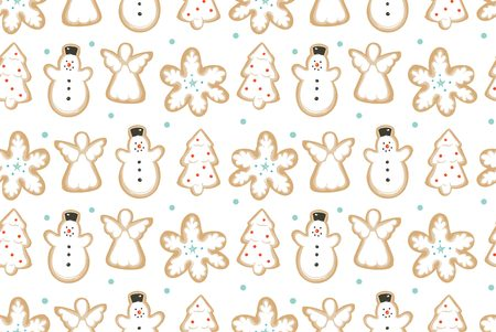 Hand drawn vector abstract fun Merry Christmas time cartoon illustration seamless pattern with baked gingerbreads cookies isolated on white background Stock Photo