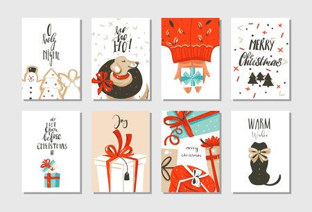Hand drawn abstract fun Merry Christmas time cartoon cards collection set with cute illustrations.