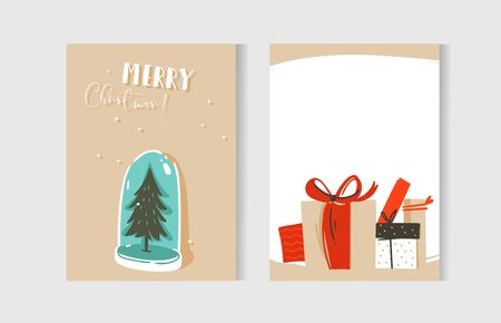 Hand drawn abstract fun Merry Christmas time cartoon cards collection. Stock Illustratie