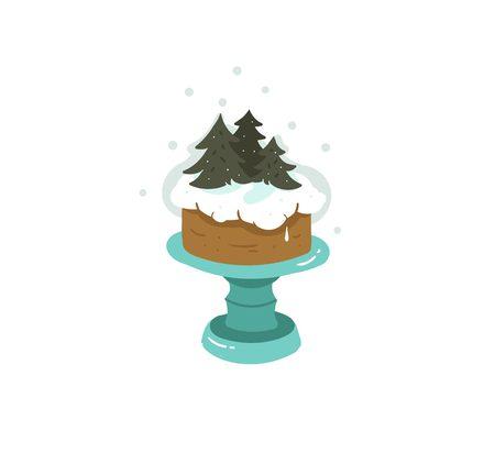 christmas pudding: Hand drawn christmas cake illustration.