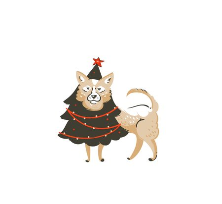 Hand drawn vector abstract fun Merry Christmas time cartoon icon illustration with mammal happy dog in holiday xmas tree costume isolated on white background