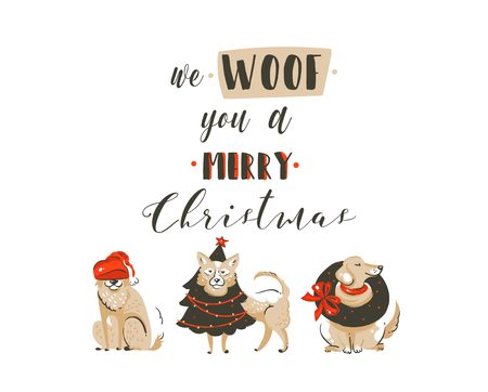 Hand drawn vector abstract fun Merry Christmas time cartoon illustrations poster with xmas dogs and modern handwritten calligraphy text We Woof you a Merry Christmas isolated on white background Illustration