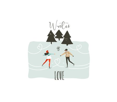 Hand drawn vector abstract fun Merry Christmas time cartoon illustration with young couple who skating in frozen forest and xmas modern calligraphy Winter is love isolated on white background Illustration