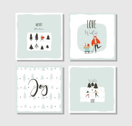 Hand drawn vector abstract fun Merry Christmas time cartoon cards collection set with cute illustrations,surprise gift boxes ,Christmas trees and modern calligraphy isolated on white background Illustration