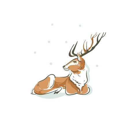 Hand drawn vector abstract fun Merry Christmas time cartoon illustration with young Santa Claus reindeer Rudolph isolated on white background Illustration